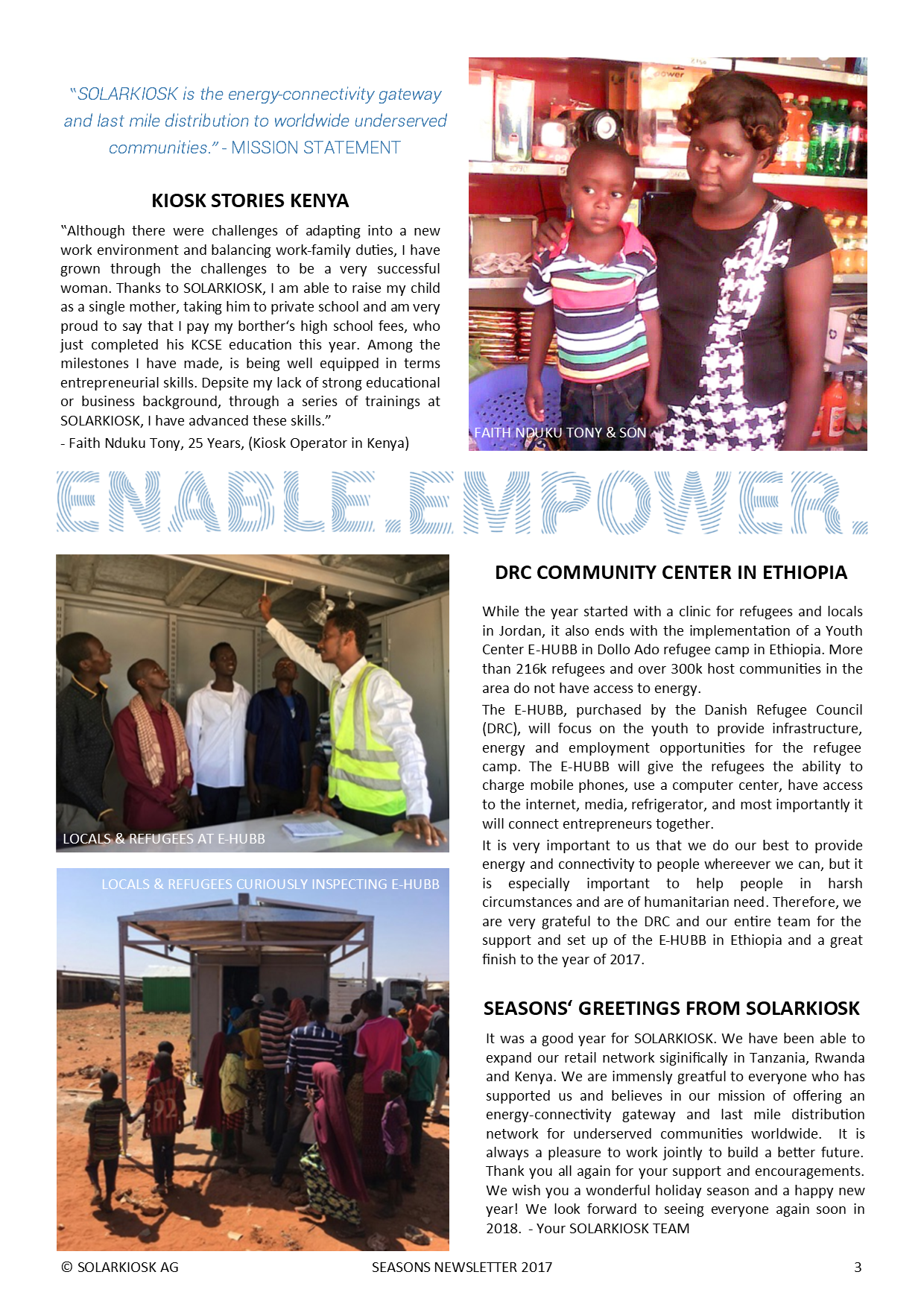 Solarkiosk 2017 Newsletter 3